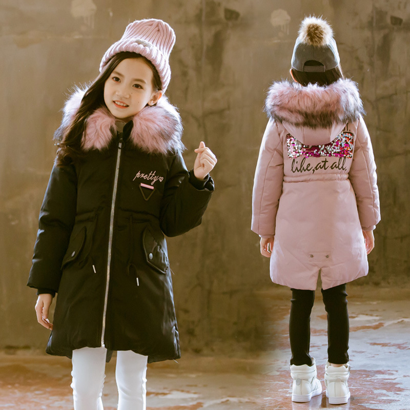 Girls' Winter Coat 2018 New Chinese Children's Leisure Korean Version Of Cotton Padded Girl Winter Long Thickened Cotton Padded цены онлайн