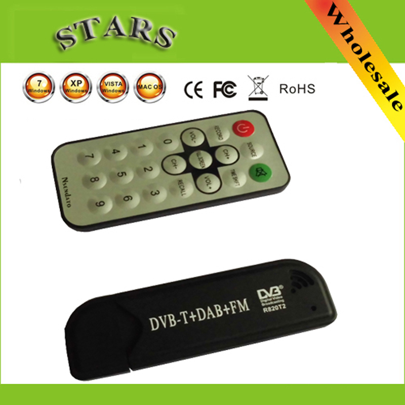 USB Smart TV Stick DVB-T & RTL-SDR Digital TV Receiver RTL2832U & R820T2 Tuner DVB-T+FM+DAB with Antenna for android PC ...