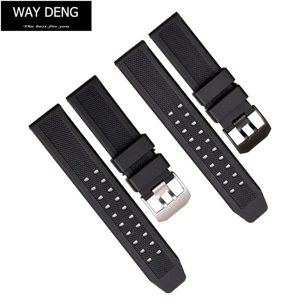 Way Deng - Men Sports Black Silicone Rubber Wrist Watch Band Strap 23mm Watchbands Accessories For Luminox Series - Y135 стоимость