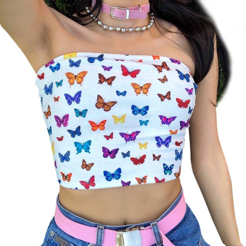 Женский сексуальный топ с открытыми плечами, без бретелек, короткий топ с разноцветным принтом, бандо, тонкие пляжные вечерние, мини уличная...