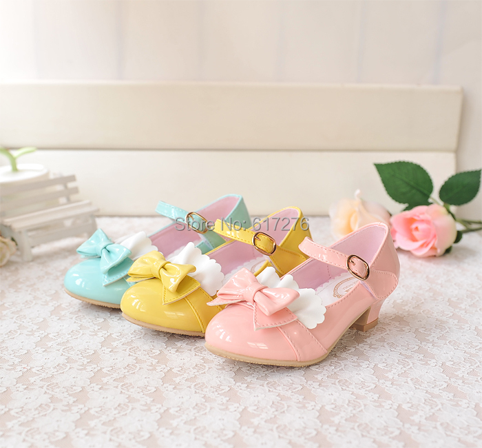 children patent leather bow shoes girls high heels little princess mary jane kids  -  Hello Club Online Store store