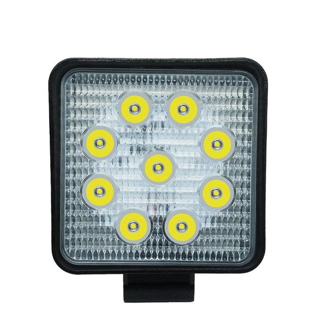 Car Work Light 27W LED Square Light 6000k 2700LM Super Bright Outdoor Headlight Bulb Refit Off road Vehicle Roof Strip Light