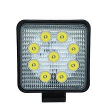 Lumière de travail de voiture 27W LED lumière carrée 6000k 2700LM Super lumineux ampoule de phare extérieur