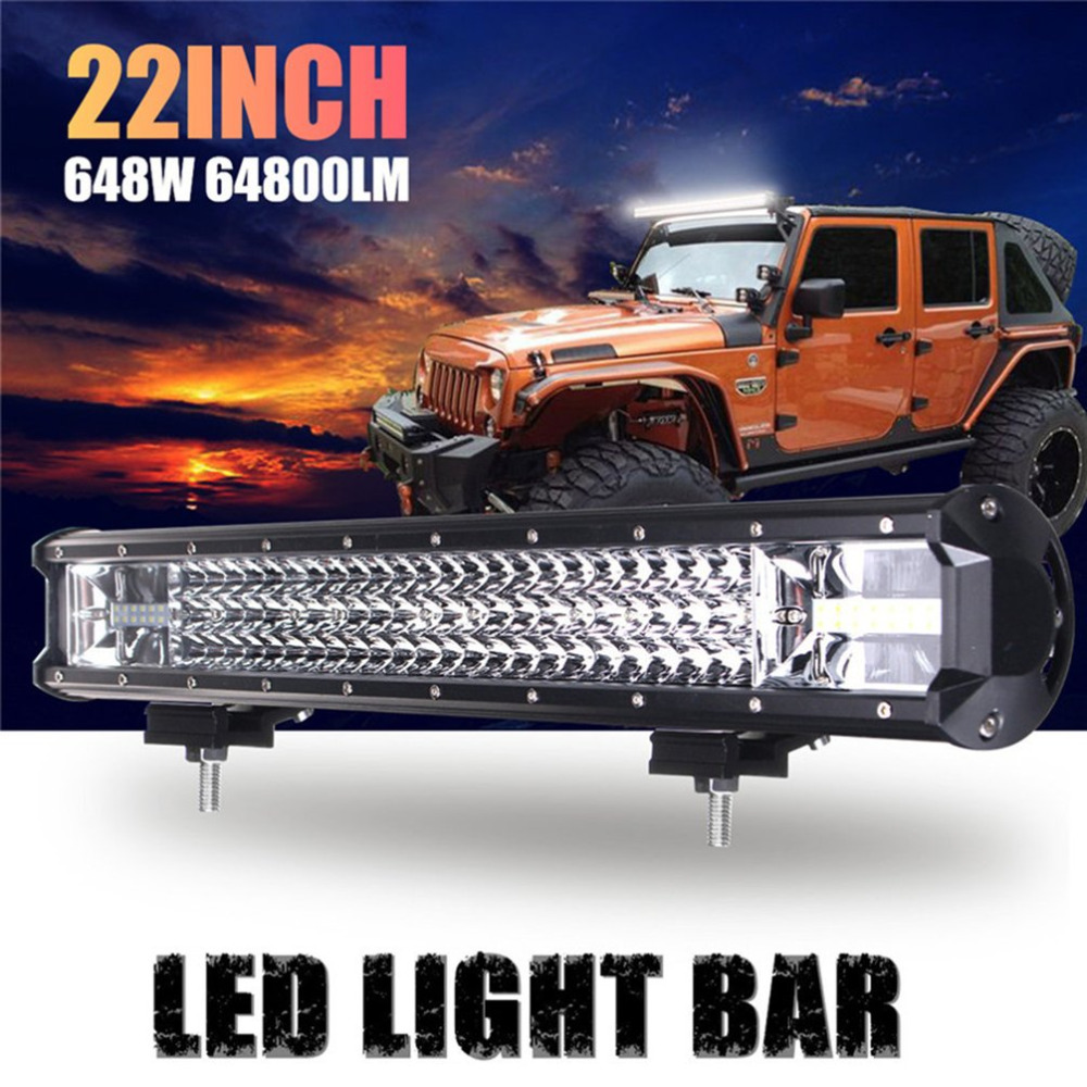 22 Inch 648W 64800LM 108LED Work Light Bar Flood Light Car Truck Offroad Driving Lamp IP68 Waterproof Combo Light Top Sale