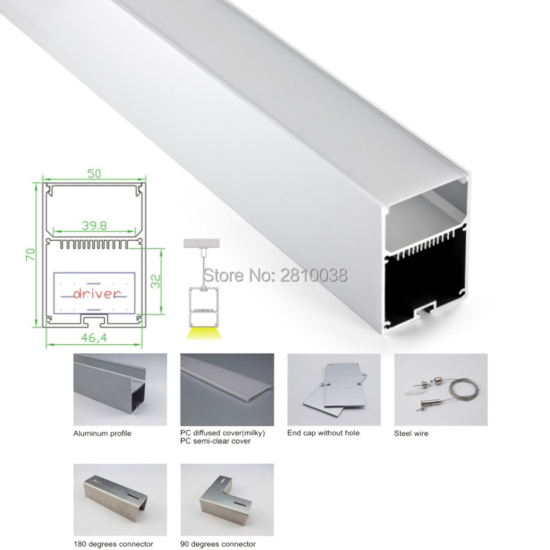 US $655 19 9% OFF|10 X 2M Sets/Lot U Led aluminium extrusion channel  profiles with light diffuser strip Cover for pendant or suspension  lights-in LED