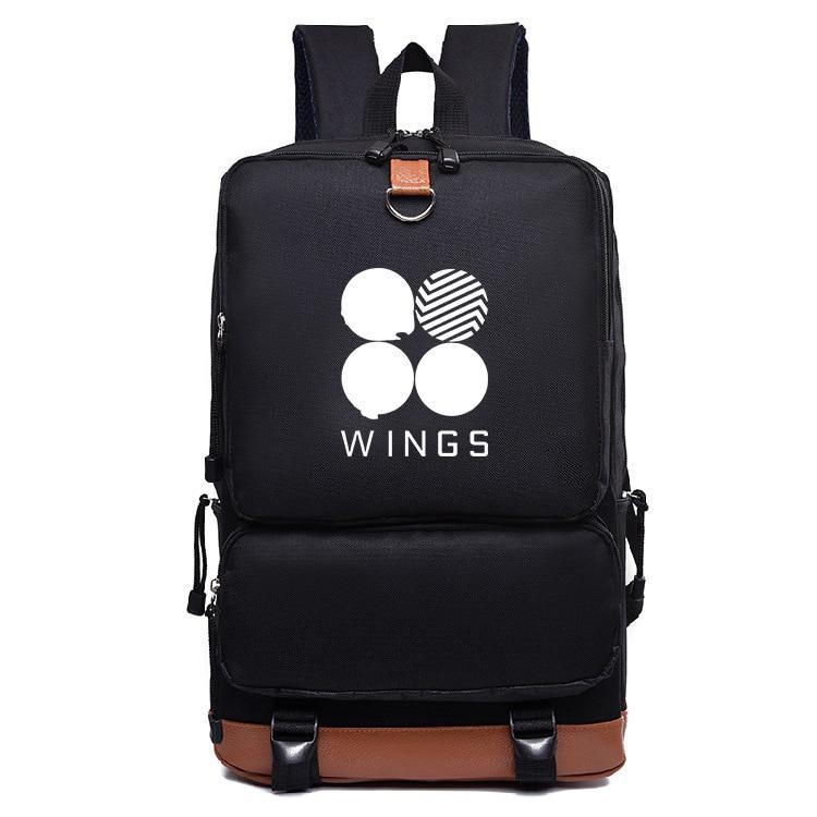 85e1546f447 Nieuwe Bts Bangtan jongens vleugels stijl canvas Mode Schooltas Rugzak  leisure bag black backpack gg women urban outfitters-in Backpacks from  Luggage & Bags ...