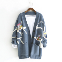 2018 Autumn Winter Sweet Owl Cartoon Sweater Cardigans Long Sleeve V Ncek Women Korean Style Fashion Winter Clothes Women 06585