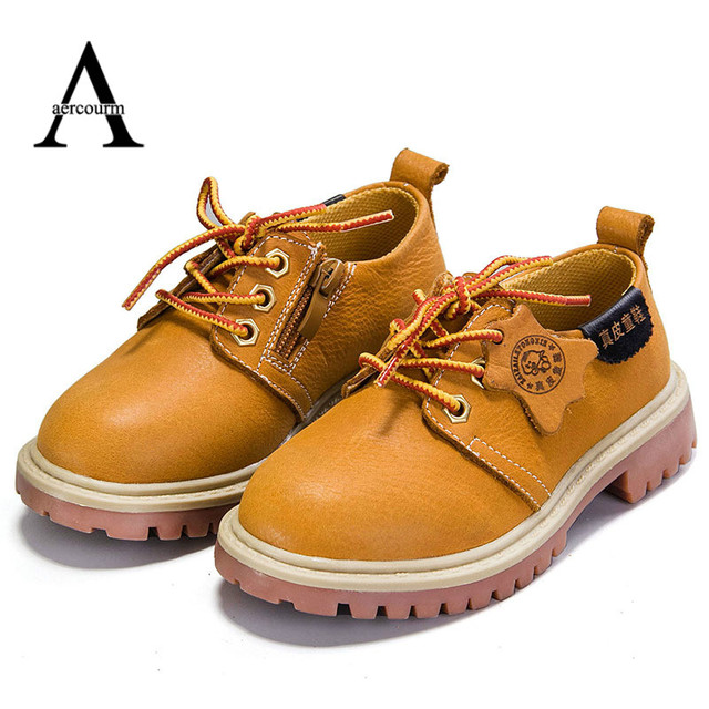 aercourm A 2016 Autumn New Retro Genuine Leather Kids Shoes Non-slip Flat Girls Shoes Casual Sneakers Yellow Blue Boys Enfant