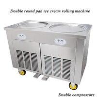 Duplo pan rodada 220 v 110 v elétrica 2 pan fry máquina de sorvete de iogurte de leite de gelo rolo de gelo frito máquina de gelados 35 cm r410a gás