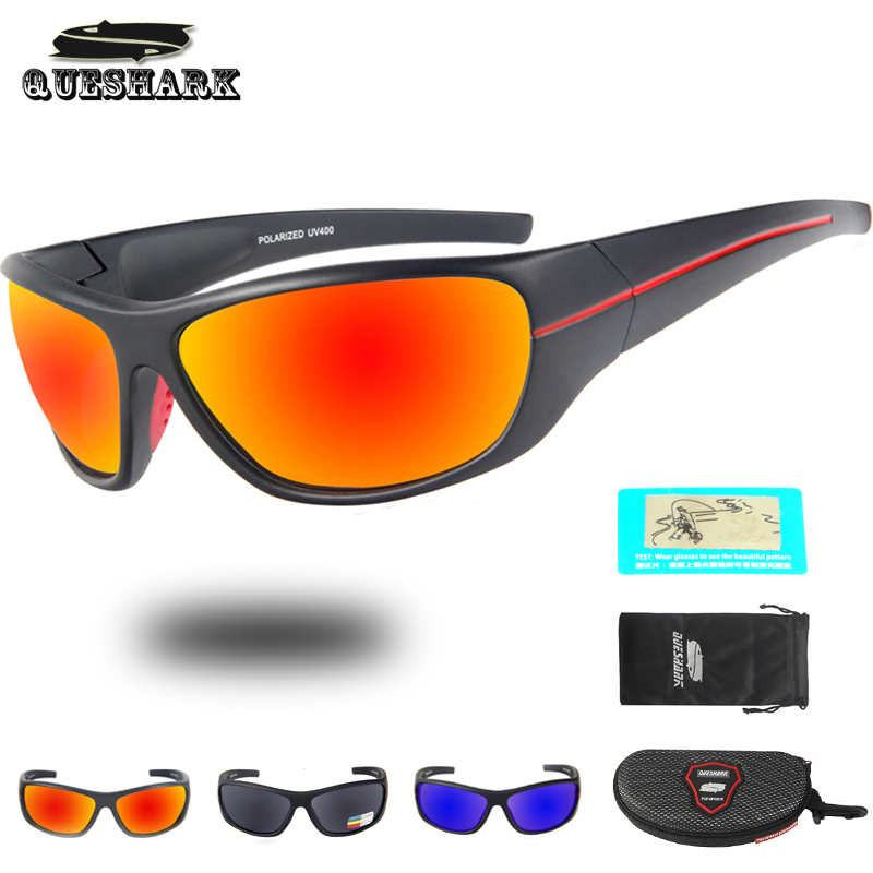 Queshark Anti-UV Polarized Cycling Sunglasses Bike Goggles Riding Bicycle Sports Glasses Hiking Cycling Eyewear Fishing Glasses