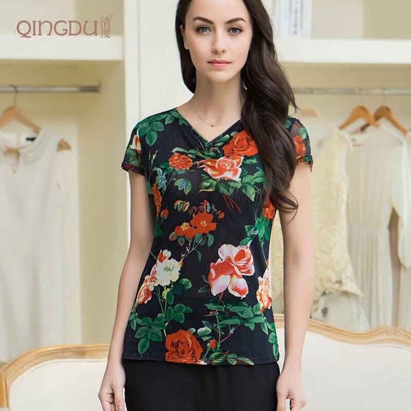 T-shirt en soie fille été 100% maille tricotée en soie Double pli col en V chemise