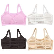 Junior Puberty Girls Spaghetti Straps Sport Bra Underwear Hollow Out Backless Strappy Bralette Solid Color Wireless Padded Vest