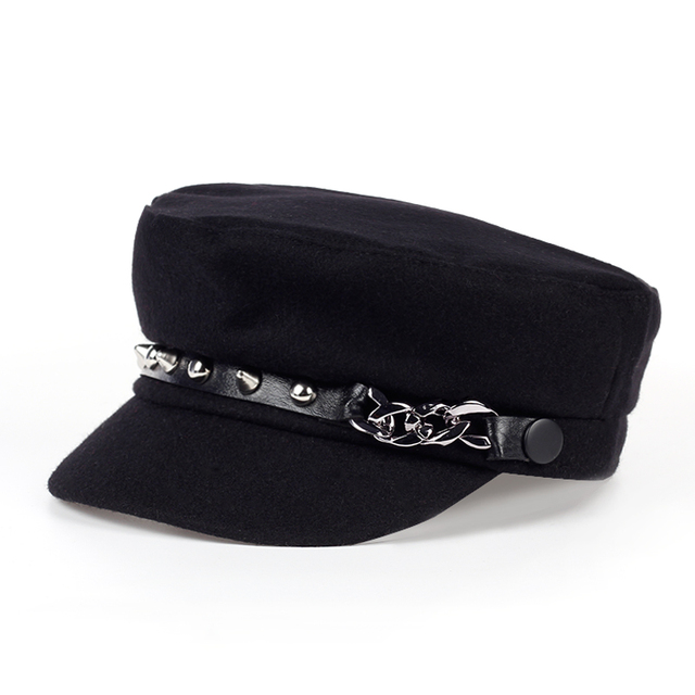 2017 new Military Hat Winter Knitted Cap Flat Top Hats For Women rivet Black Grey Male Female Casquette Militaire Gorra Plana
