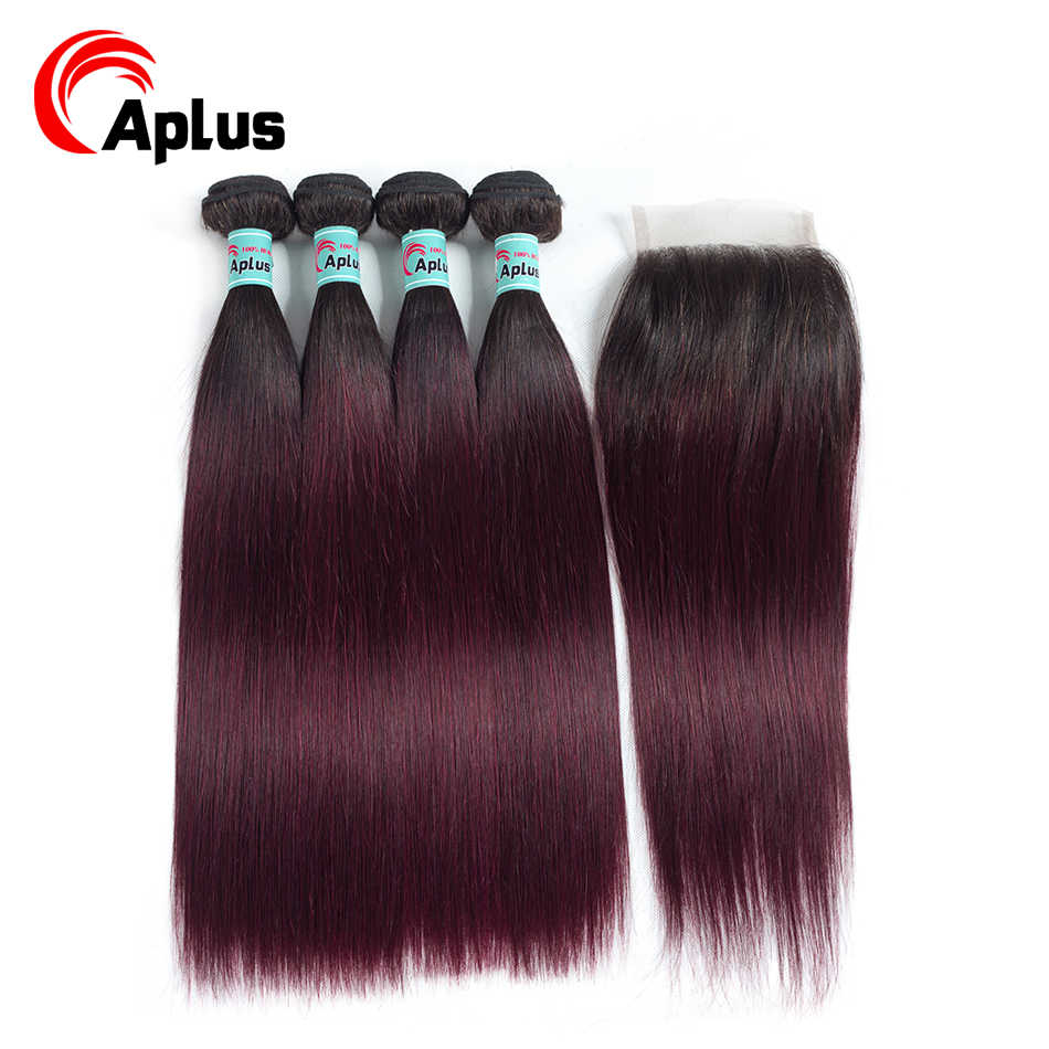 Aplus 1b 99j Straight Hair With Closure 5Pcs/Lot Peruvian Hair Bundles With Closure Free/Middle 3Part Ombre Wine Non-remy Hair