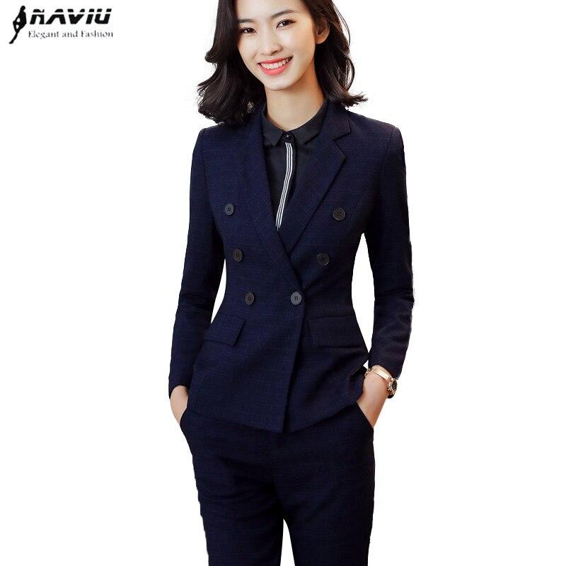 2018 High quality fashion pants suits Fashion slim work wear office ladies long sleeve blazer pants