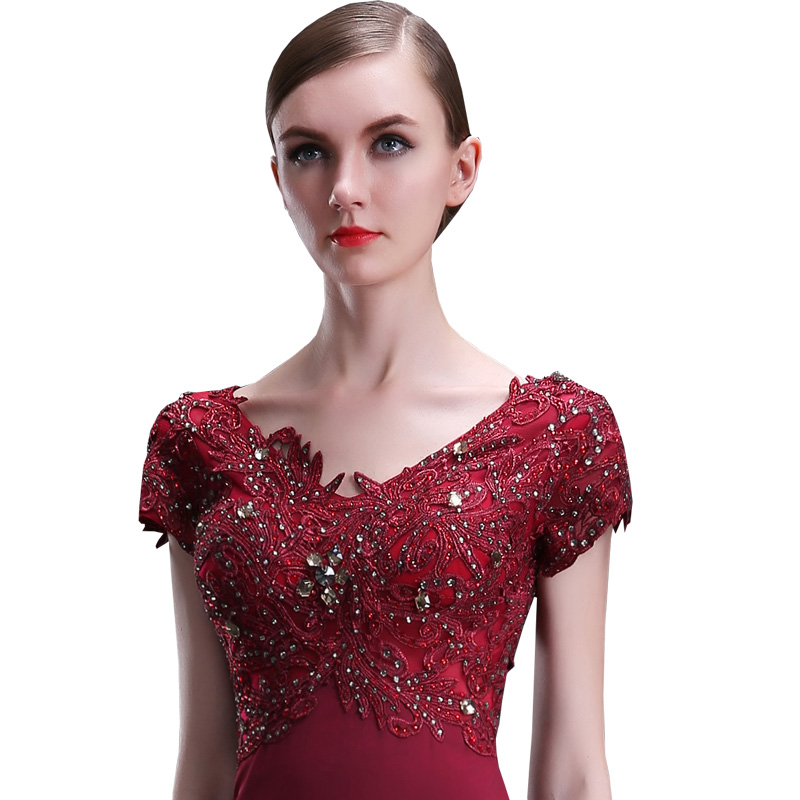 vestido de noche Champagne Wine Red Lace Evening Dresses 2017 long evening gowns Beaded avondjurk