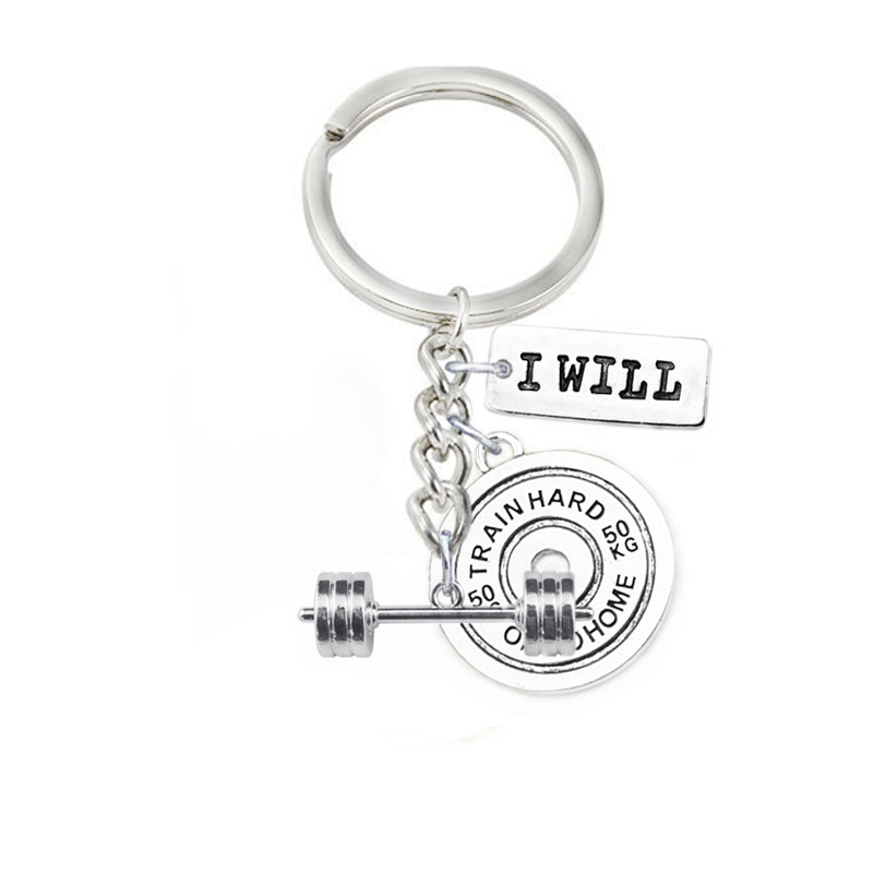 I Will Weigth Lifting Barbells Weight Plate 50KG Train Hard Or Go Home Crossfit Inspire Men Key Chains