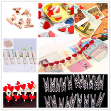 20 PCS Home wedding Decoration Cute Kawaii Love Hearts Wooden Paper Clips Photo Paper Peg Pin Clothespin Craft Postcard Clips(China)
