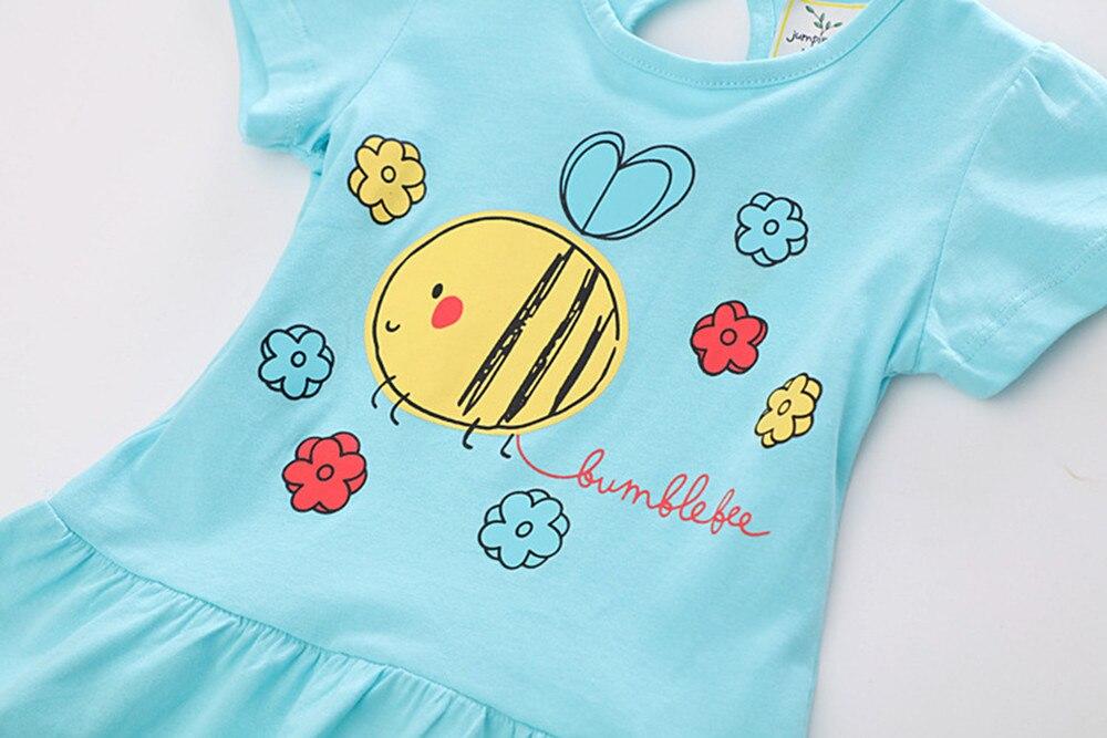 MUQGEW Kids Baby Girls Dress Cartoon Cat Floral Dress Sleeve Dress Clothes Light color summer Mini dreess vestido de v