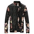 2016 Spring Autumn New Fashion Printed Patchwork Leather Jacket Slim Fit Floral Jacket Men Long-Sleeved PU Leather Jacket Men