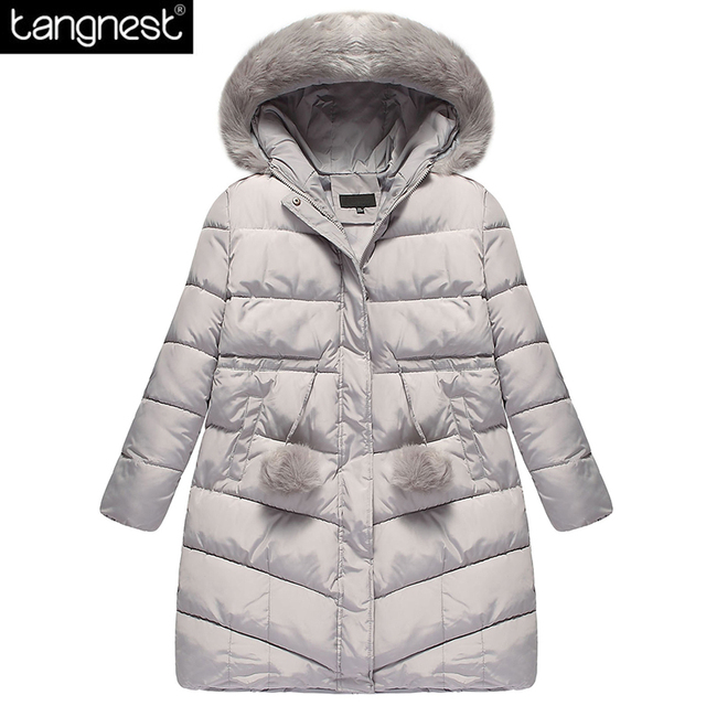 TANGNEST Твердые Плюс Размер Длинные Пальто 2017 Новый Зимняя Мода Искусственного Меха С Капюшоном Парки Свободный Женщина Случайные Телогрейки WWM1458