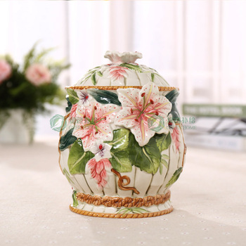 lily ceramic food container candy jar kitchen storage jar home decor handicraft porcelain figurines wedding decorations gifts