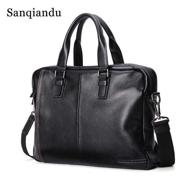 258fd2b414b1 Famous Brand Briefcase Men Genuine Leather Men S Shoulder Bag Korean Tote  Bags Designer Casual Black