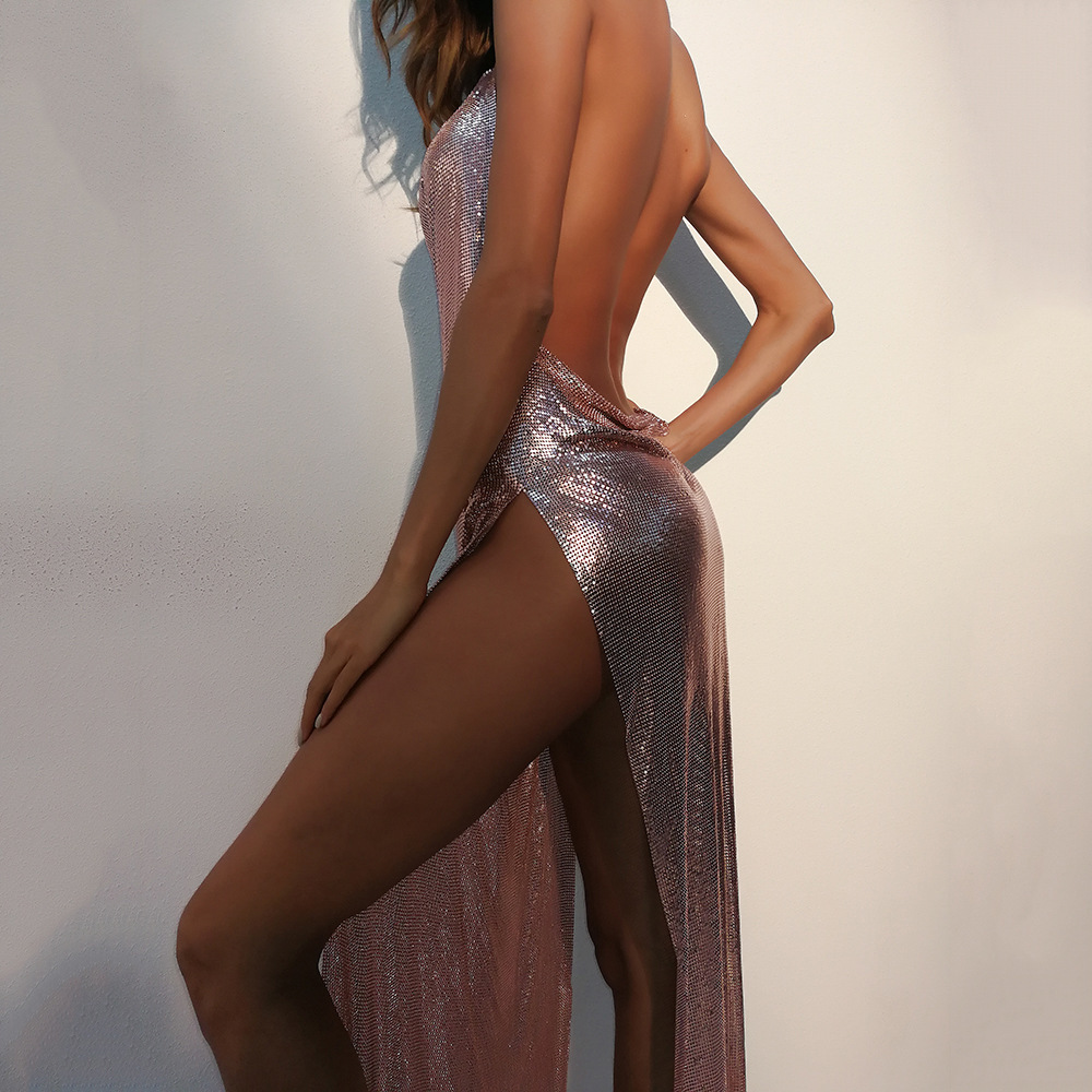 Toltolq Metal Haut Sexy Robe Soirée 2018 Rallongent De Full Split Longue Maxi golden Robes Noël Femmes Sequin Black silver Backless r4yrSFc