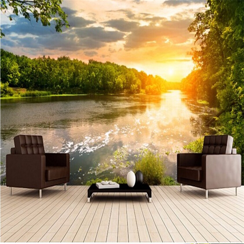 beibehang Custom photo wallpaper wall stickers river sunset, 3D photo wall paper