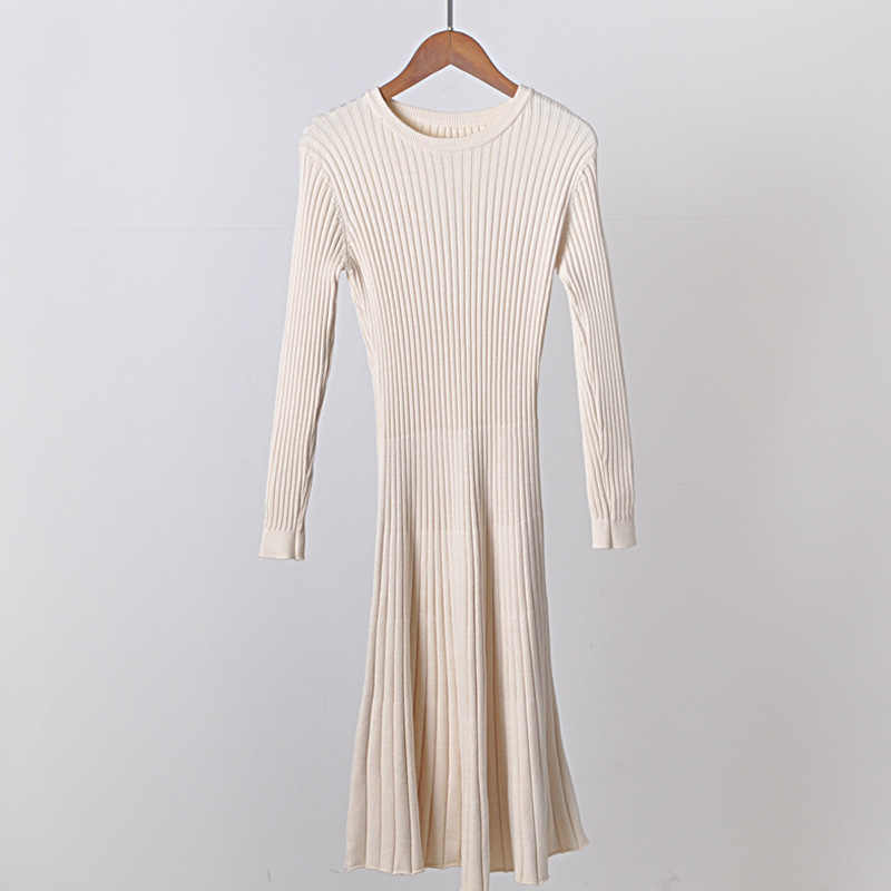 30b921a364c ... 2018 Long Sleeve OL Maxi O-neck Sweater Dress Women Autumn Winter Thick  A-