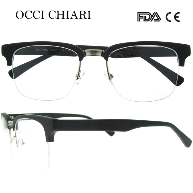 3c655d21f9 OCCI CHIARI 2018 Vintage Retro Men Metal Black Thick Half Rim Eye Glasses  Frames Optical Eyeglasses Myopia Spectacles W-COLMO