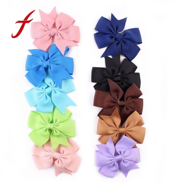 Hot Sale!!! 10PCS Bow Girl Child Hair Clip Grosgrain Ribbon Boutique Bowknot Hairpin Hair Accessories Colorful Baby Hair Clips