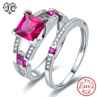 J C New Square Cut Ruby Spinel Emerald White Topaz 925 Sterling Silver Ring Size 6