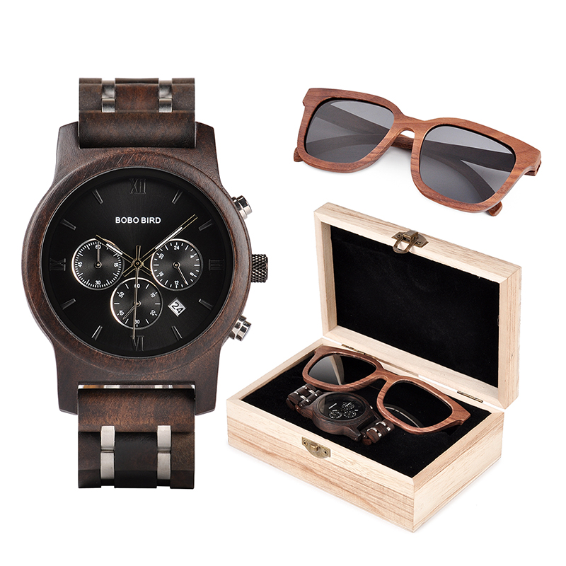 BOBO BIRD Wooden Watches Men Sunglasses in Suit Present Box Gift BoxQuartz Wristwatch Male Stopwatch saat
