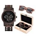 Деревянные часы BOBO BIRD, мужские солнцезащитные очки в подарочной коробке, кварцевые наручные часы, мужские часы с секундомером saat erkek