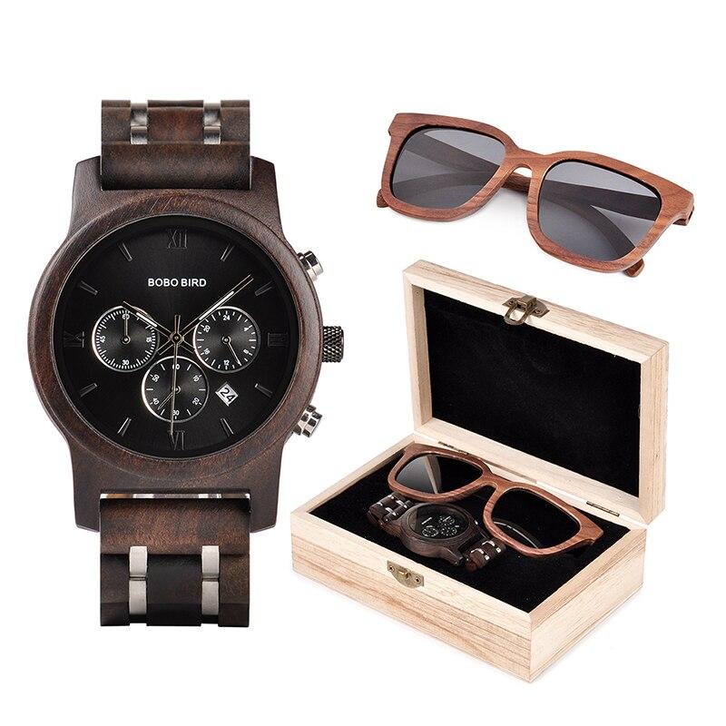BOBO PÁSSARO Relógios Homens Dos Óculos De Sol De Madeira em Terno Caixa de Presente Presente BoxQuartz Cronômetro de Pulso Masculino Relógios saat erkek