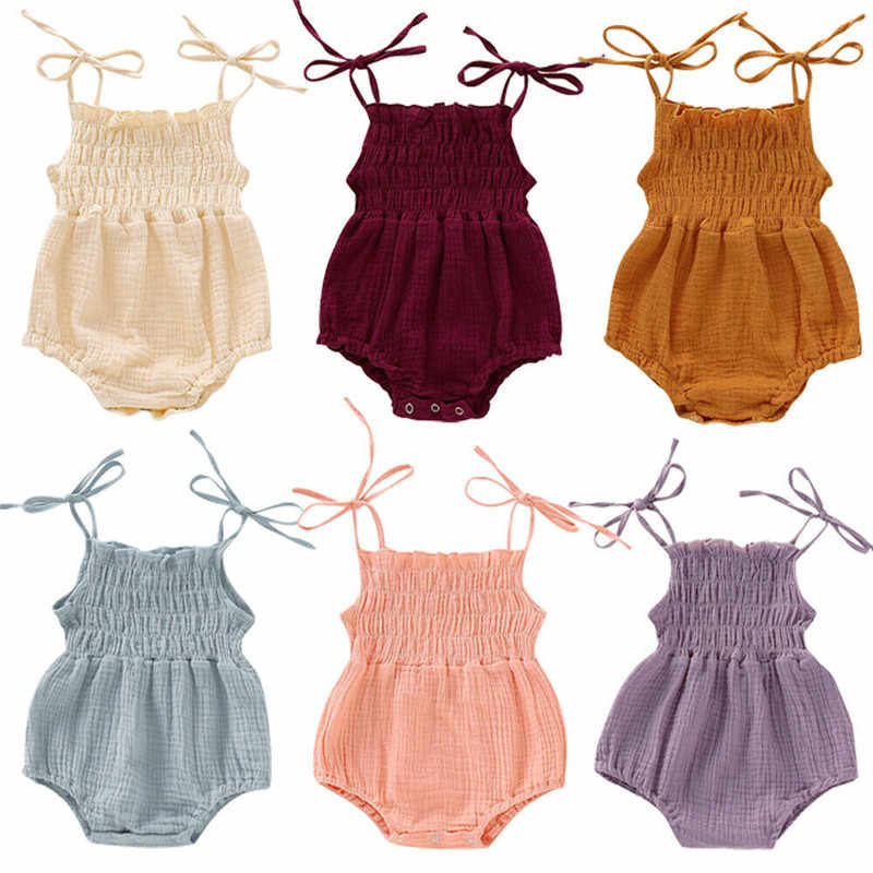 6 Colors New Lovely Retro Baby Girls Lace Up Romper Soft Cotton Summer Sleeveless Strap Toddler Pleated Jumpsuit Overalls 0-24M
