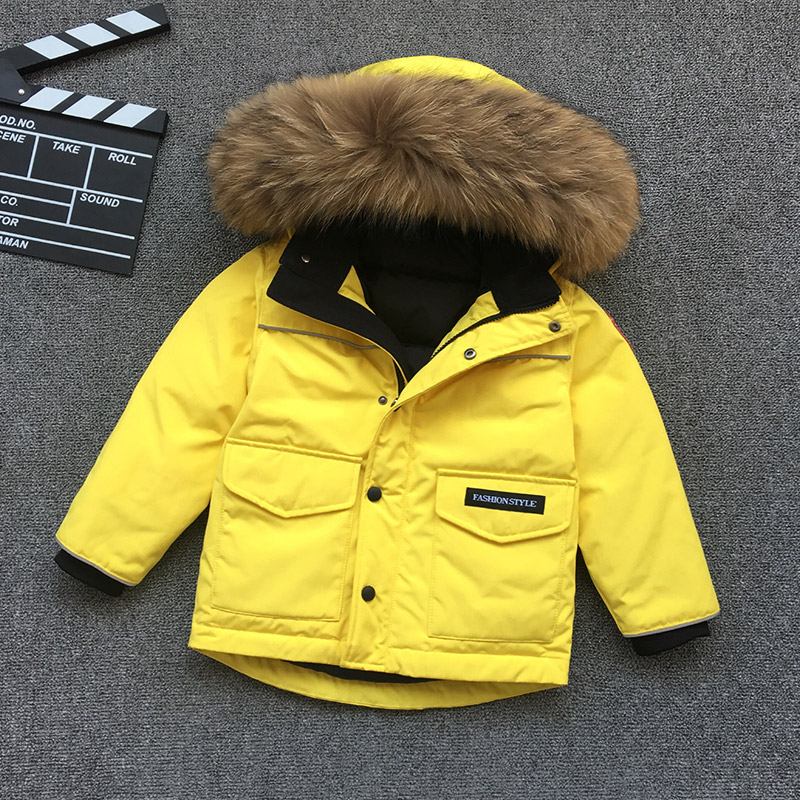 Russian Winter Kids Down Coats Big Real Raccoon Fur Thick Warm Boys Girls Outwear Coat Snow Wear Children Snowsuit Down Jackect стоимость