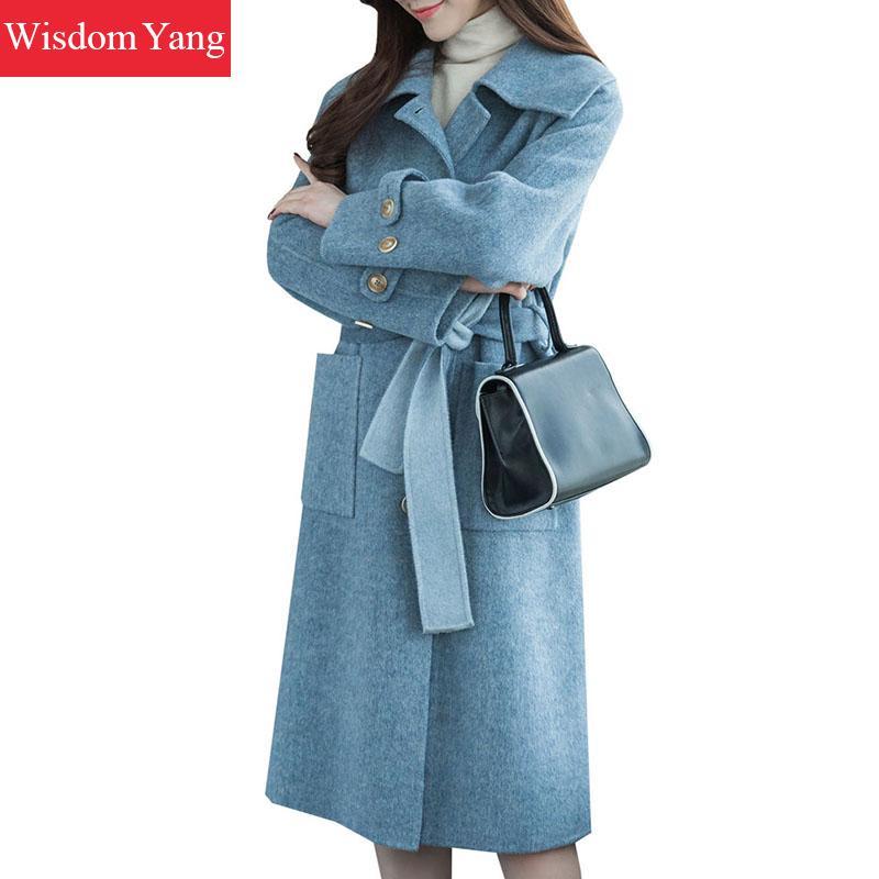 Vintage Oversize Coréenne Moutons Survêtement Mince Coat Élégant Manteau Dames Longues Ceinture Bleu Manteaux Chaud Hiver De Femmes Blue Laine Pardessus FnnqROvw