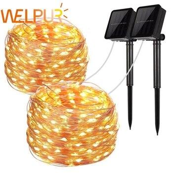 Guirnalda de luces LED Solar para exteriores, 100/200 LEDs, guirnalda navideña para fiestas, prueba de agua Solar a jardín, 10m