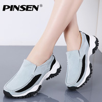 PINSEN 2019 Autumn Shoes Women Flat Platform Sneakers Leather Casual Women Moccasins Shoes Slip On Flats Loafers Female Creepers