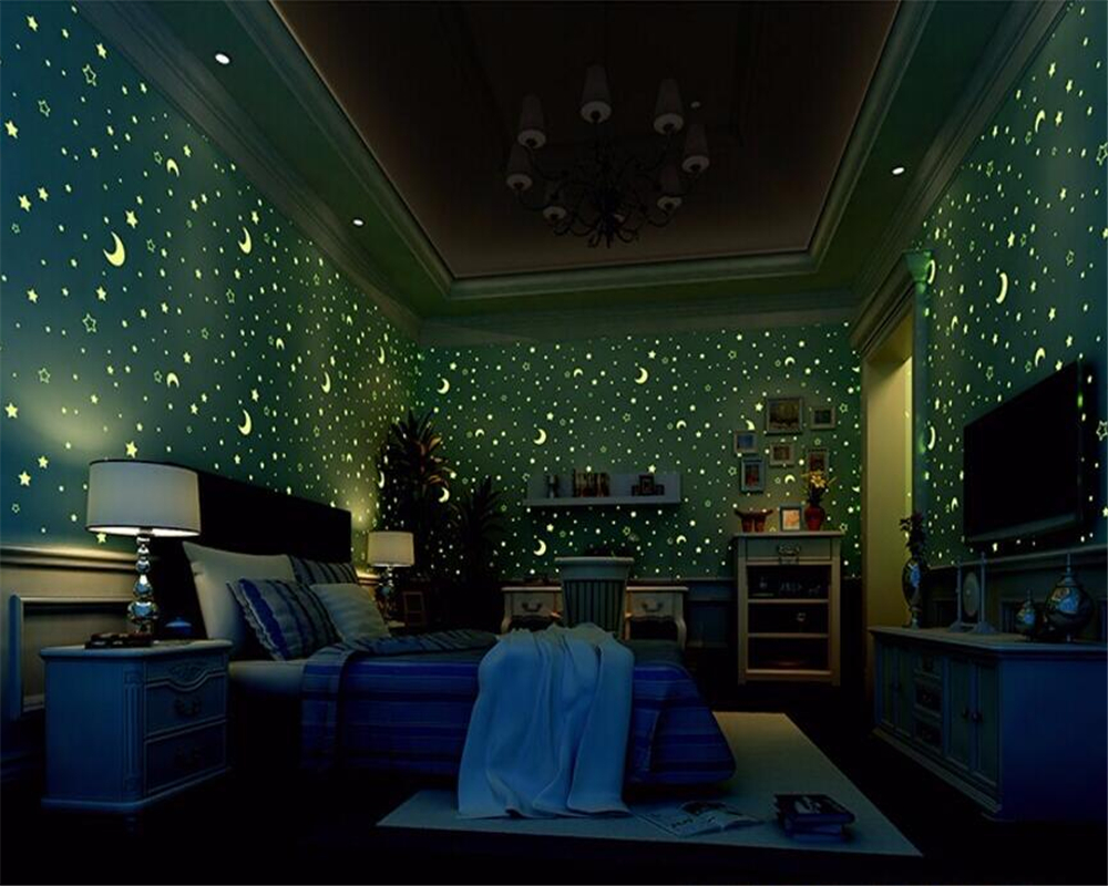 Beibehang 3d wallpaper Non-woven children's room luminous moon and the stars little boys girls bedroom wallpaper for walls 3 d non woven luminous wallpaper roll stars and the moon boys and girls children s room bedroom ceiling fluorescent home wallpaper