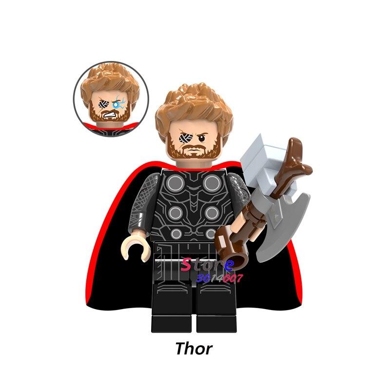 Single Marvel Avengers 3 Infinity War Thor Ragnarok Thanos Infinity Gauntlet Iron Man figure building blocks toys for children