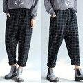 Large Size Women Casual Harem Pants Middle Waist Loose Female Pants Cotton Long Bloomers Trousers Plus Size Plaid Women's Pants