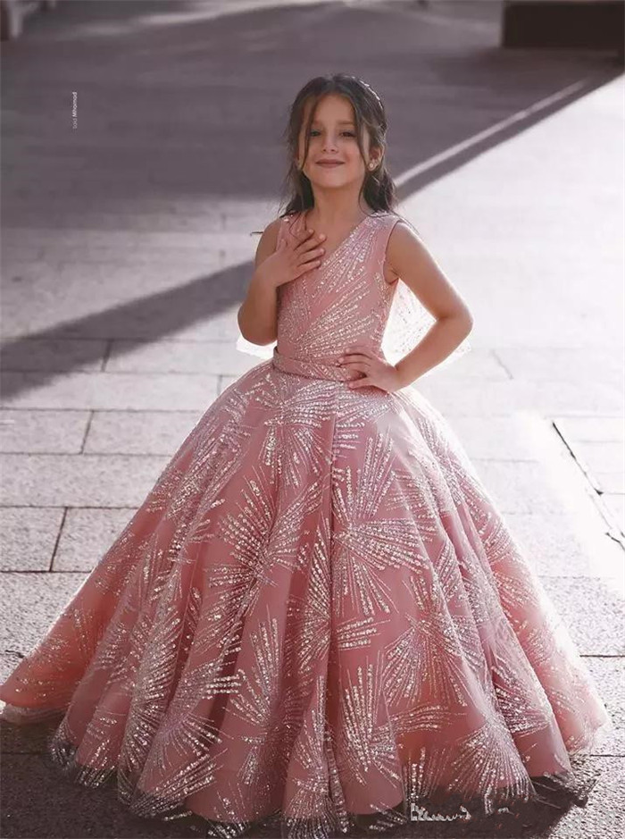 Gorgeous   Flower     Girl     Dress   with Sparrkly Appliques Wrap For Wedding V-Neck   Girls   Pageant Gowns Custom Made Vestidos De Novia