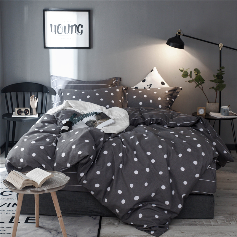 100% Cotton Printed Fashion Dot Bedding Set High-quality Duvet Cover Bed Sheet Fitted Sheet Pillowcases Twin Queen King size 3/4