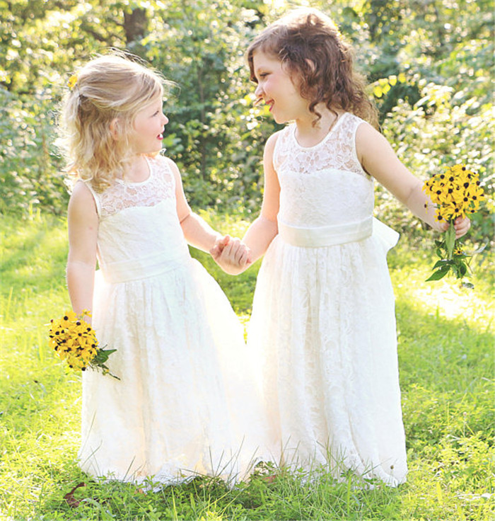 Ivory White Lace Flower Girls Dresses for Wedding with Bow Baby Girls Christening Dress Birthday Gown with Bow