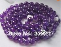 "002846 Charming! Long 34"" 8mm Russican Amethyst Round beads Necklace"