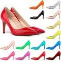 2015 Европейской и Американской моды тонкие высокие каблуки острым носом обувь neon зеленый цвет многоцветный лакированной кожи ПР насосы 40-42