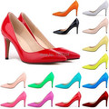 2015 European and American fashion thin high heels pointed toe shoes neon green color multi color patent leather OL pumps 40-42